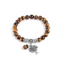 Bracelet œil de tigre 8 mm avec arbre de vie