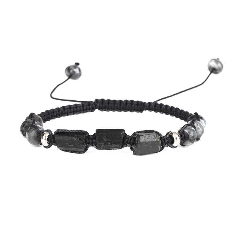 Bracelet tourmaline brut avec labradorite