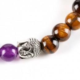 Bracelet tête de Bouddha 7 chakras pierres 8 mm œil de tigre