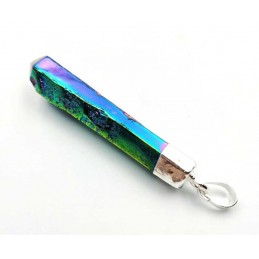 Pendentif cristal titane pointe brute pièce unique 11GR - Longueur 5,5 cm