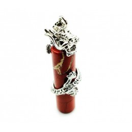 Pendentif jaspe rouge dragon cylindre