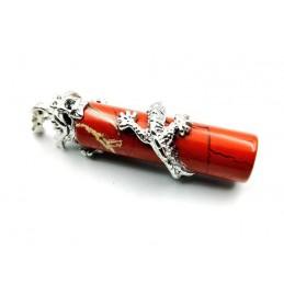 Pendentif jaspe rouge dragon cylindre