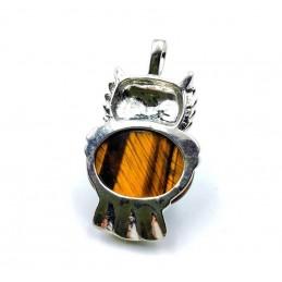 Pendentif Hibou Pierre cabochon œil de tigre yeux onyx noire