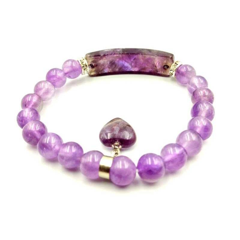 Bracelet Améthyste forme gourmette avec coeur perles 8 mm