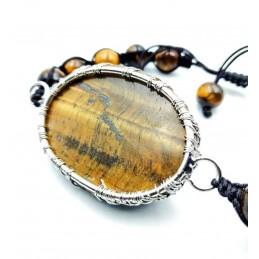 Bracelet pierre arbre de vie œil de tigre avec boules 8 mm