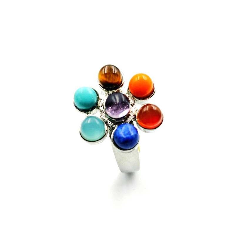 Bague 7 pierres chakras réglable