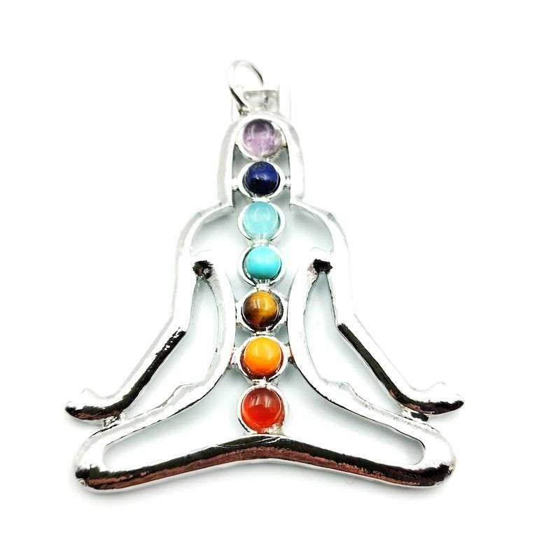 Pendentif Bouddha chakras 7 pierres