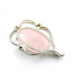 Pendentif quartz rose cabochon serti avec zirconium