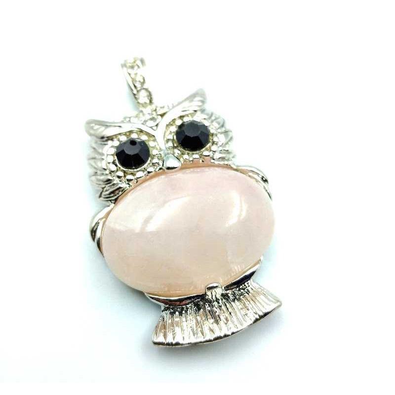 Pendentif Hibou Pierre cabochon quartz rose yeux onyx noire