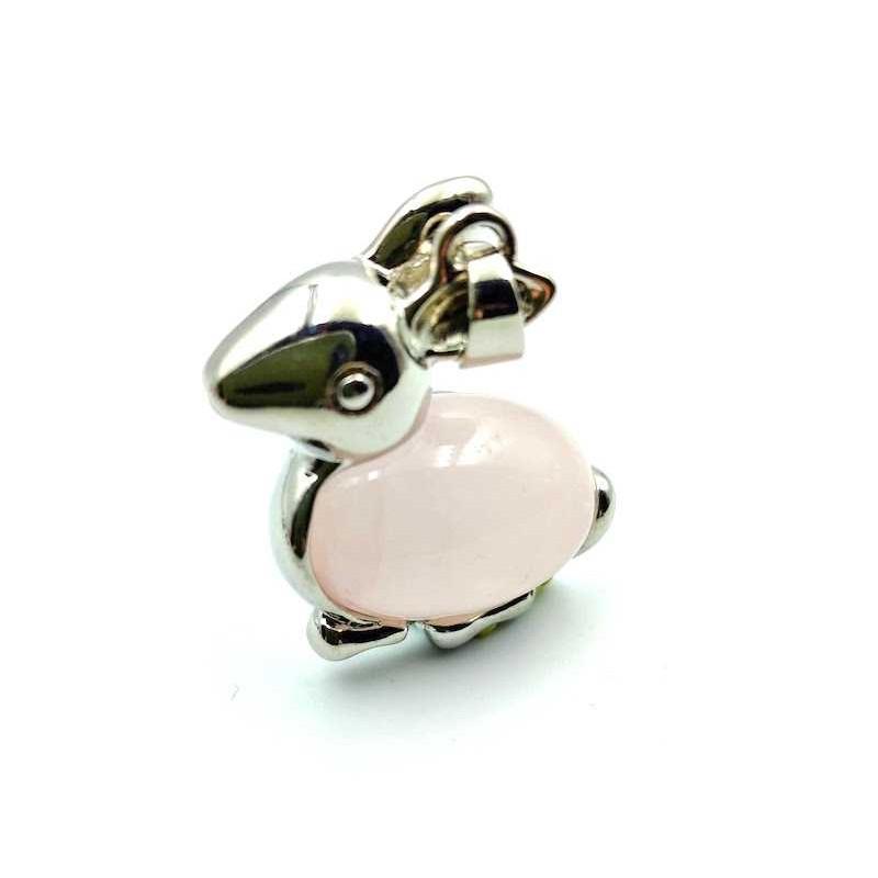 Pendentif lapin pierre Quartz rose