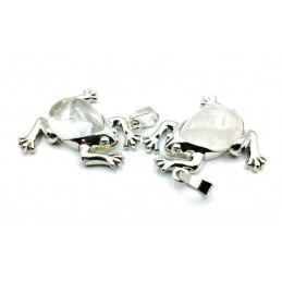 Pendentif grenouille Pierre forme de poire cristal de roche laiteux