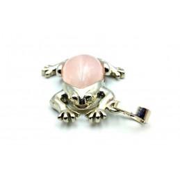 Pendentif grenouille Pierre forme de poire Quartz rose