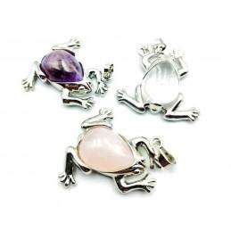 Lot 3 pendentifs grenouilles pierres naturelles