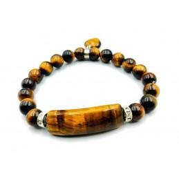 Bracelet œil de tigre forme gourmette avec coeur perles 6 mm