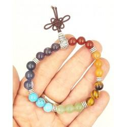 Bracelet tibétain 7 chakras 21 boules 6mm en pierres naturelles