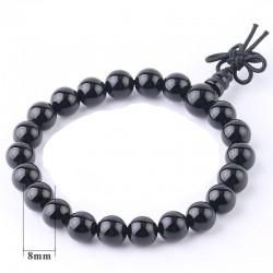 Bracelet tibétain pierre onyx noir 8 mm