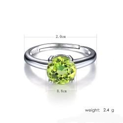 Bague anneau peridot réglable argent s925