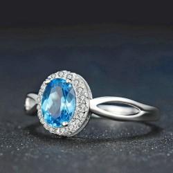 Bague anneau Topaze bleu ovale argent 925