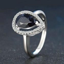 Bague anneau Saphir bleu argent 925