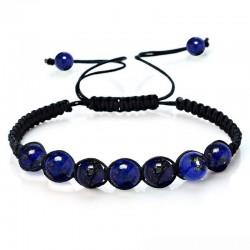 Bracelet boule 6mm Lapis-Lazuli 7 pierres réglable